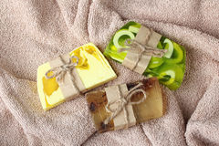 Soap. Colorful handmade soap on a beige towel Stock Photography