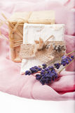 hand made soap with lavender Royalty Free Stock Images