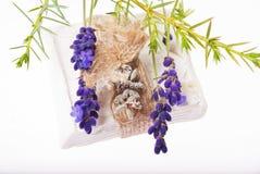 lavender soap with burlap ribbon Stock Photo
