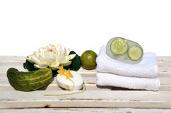 Soap with cucumbers and lime Stock Photos