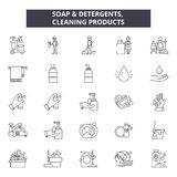 Soap determents line icons, signs, vector set, linear concept, outline illustration. Soap determents line icons, signs, vector set, outline concept, linear royalty free illustration