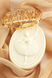 Soap and the diadem. Soap with the image of ballerina and the gold diadem Royalty Free Stock Photo