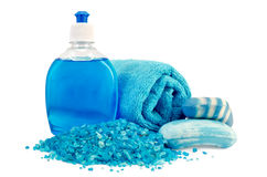 Soap different blue with a towel and salt bath Stock Photo