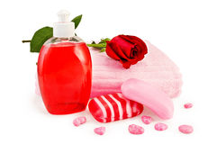 Soap different with towel and rose Royalty Free Stock Images