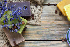 Soap different varieties of natural on napkin with a lavender Stock Photo