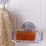 Soap Dish. Bright scene with soap and hanging wash cloth Stock Image
