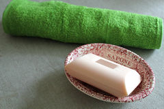 Soap Dish And Face Cloth Royalty Free Stock Photos