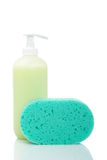 Soap dispenser and sponge Stock Photos