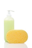 Soap dispenser and sponge Royalty Free Stock Photography