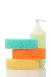 Soap dispenser and sponges Stock Images