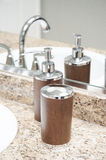 Soap dispenser and toothbrush holder Stock Image