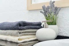 Soap dispenser with  towels Stock Image