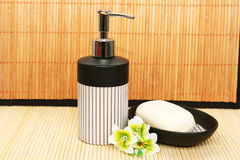 Soap dispensers and bar Stock Photo