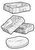Toilet paper illustration, drawing, engraving, ink, line art, vectorSoap, handmade soap illustration, drawing, engraving, ink, lin. Soap drawing Illustration stock illustration