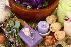 Soap Five-leaved chaste tree, Chinese chaste, Indian privet, Negundo chest nut (Vitex trifolia Linn.) Stock Images
