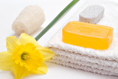 Soap and flower Stock Photos