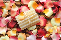 Soap and flower petals Stock Image