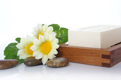 Soap, Flower and River Stone Stock Photos