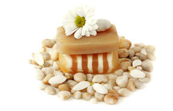 Soap, flower and sea stones Royalty Free Stock Images