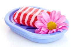 Soap, flower and soap-dish isolated Stock Images