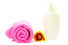 Soap, flower and towel Stock Photography