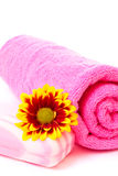 Soap, flower and towel Stock Images