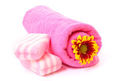 Soap, flower and towel Stock Photos