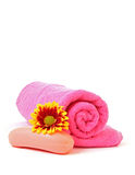 Soap, flower and towel Royalty Free Stock Photo