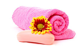 Soap, flower and towel Royalty Free Stock Image