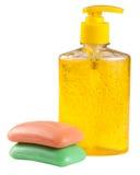 Soap flytande och heltäckande som isoleras på vit bakgrund Royaltyfri Foto