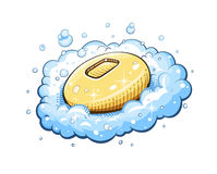 Soap in foam. Eps10 vector illustration. on white background stock illustration