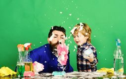 Soap foam flies in air. Fatherhood concept. stock photography