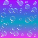Soap foam on gradient background. Realistic water bubbles 3d. Cool rainbow colored liquid foam with shampoo bubbles. Cosmetic flye. Water soap bubbles on blue Stock Illustration
