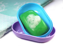 Soap with foam heart Stock Photography