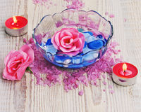 Soap in form of roses in bowl stock images