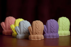 Soap in the form of winter mittens. A gift for the new year royalty free stock images