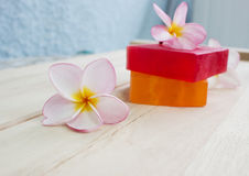 Soap and frangipani flower  Royalty Free Stock Photos