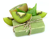 Soap with fresh kiwi Royalty Free Stock Images