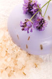 Soap With Fresh Lavender Flowers And Bath Salt Royalty Free Stock Image