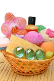 Soap, gel, bath bombs, sponges in the basket Royalty Free Stock Images
