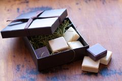 Soap in gift box. Soap slices in gift box Stock Image