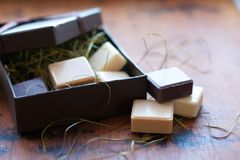 Soap in gift box. Soap slices in gift box Royalty Free Stock Image