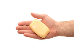 Soap in hand Stock Image