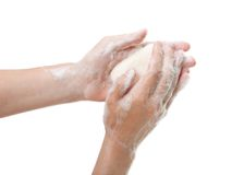 Soap in hand Stock Photo