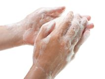Soap in hand Royalty Free Stock Images