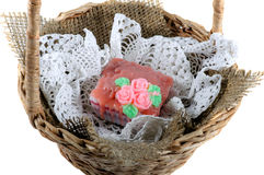 Soap handmade lace napkin in a wicker basket Royalty Free Stock Photo