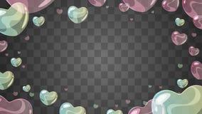 Soap heart-shaped bubbles vector illustration