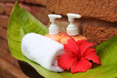 Soap and hibiscus. At a outdooor shower Royalty Free Stock Photos