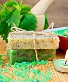 Soap homemade and candle with nettles in mortar Stock Image