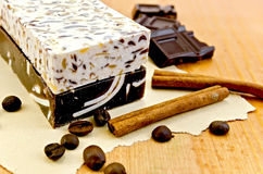 Soap homemade with chocolate and cinnamon Royalty Free Stock Image